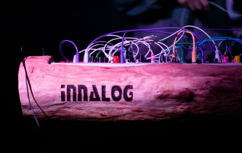 Innalog? Modulog? A log with a modular synth in it!